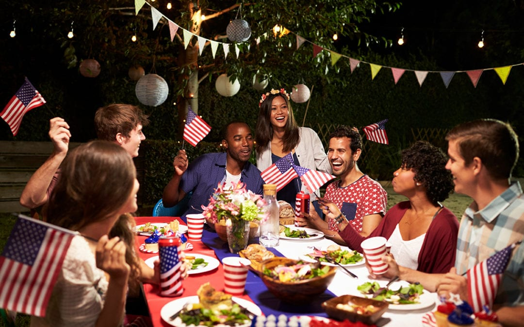 a group at a July 4 dinner