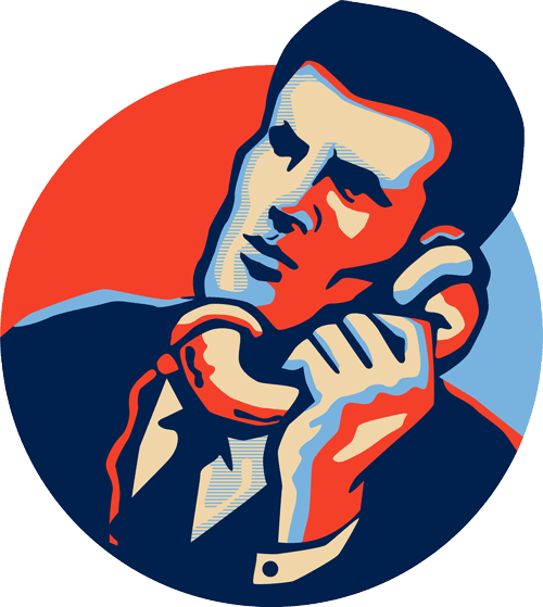 icon of a concierge speaking on the phone