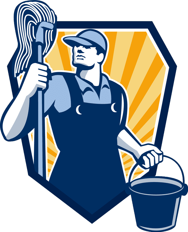 icon of a janitor holding a mop and bucket