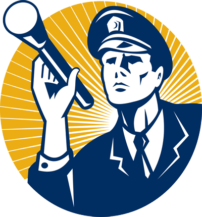 icon of a security guard holding a flashlight